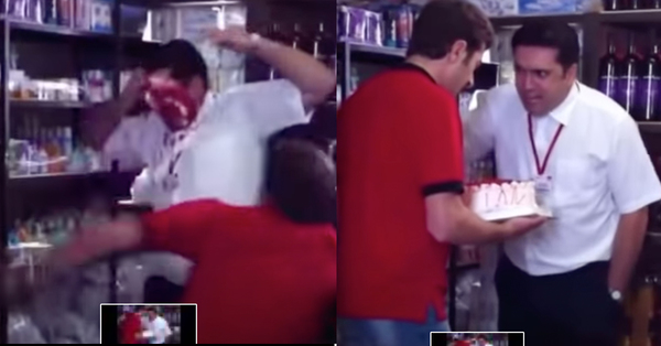 Խանութի աշխատանկիցը տորթը խփում է Ալեն Սիմոնյանի դեմքին