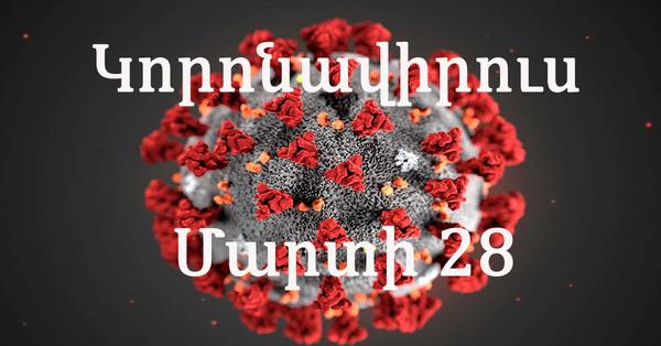 Այսօր մարտի-28 ին կորոնավիրուսի վարակակիրների քանակը և մահվան դեպքերը