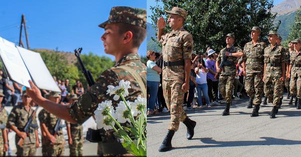 Նորակոչիկները զինվորական երդում են տալիս․ Բարի ծառայություն ձեզ, առողջ և անփորձանք վերադառնաք տուն